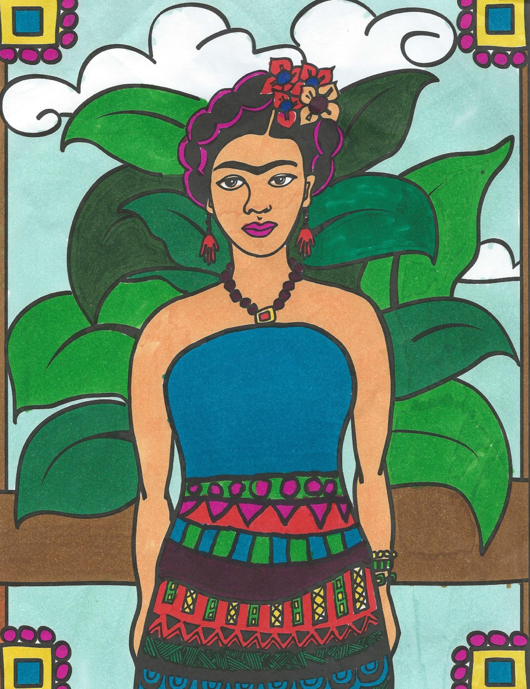 Frida Kahlo Coloring Pages Little Pink Apple